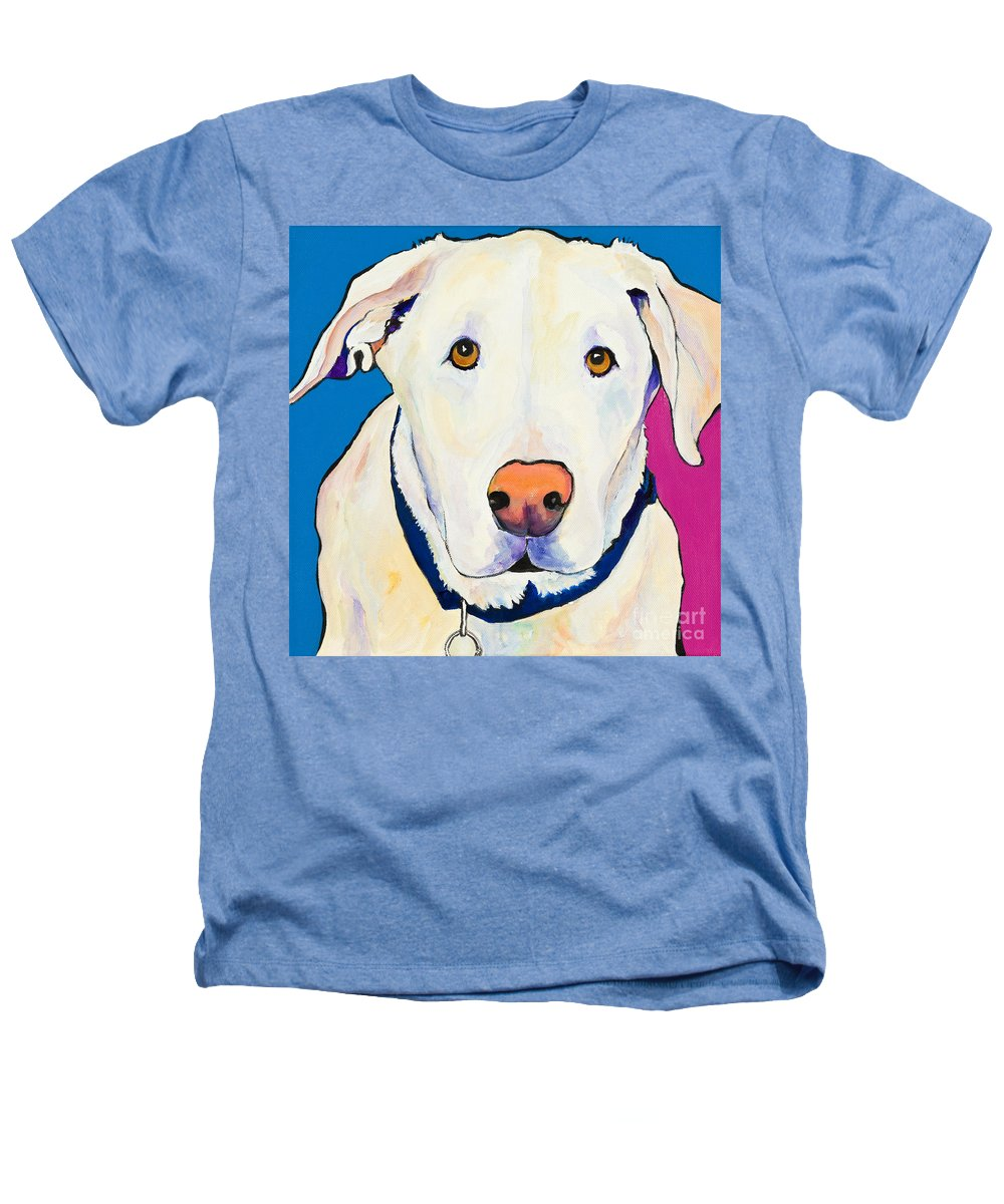 White Lab Yellow Lab Animal Paintings Golden Eyes Square Format Dogs Pets Rescued Heathers T-Shirt featuring the painting Aslinn by Pat Saunders-White