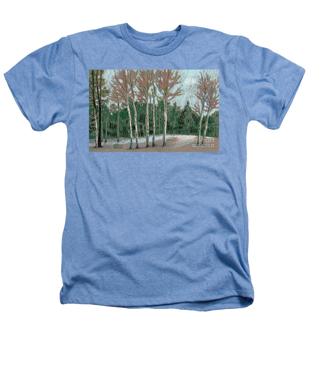 Aspens Heathers T-Shirt featuring the drawing Aspen In The Snow by Donald Maier