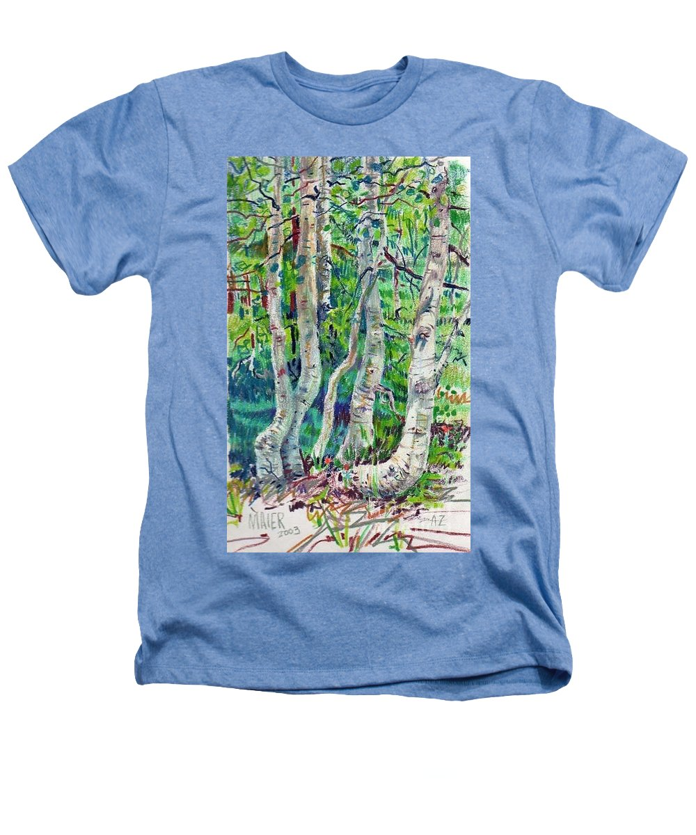 Aspens Heathers T-Shirt featuring the drawing Aspens by Donald Maier