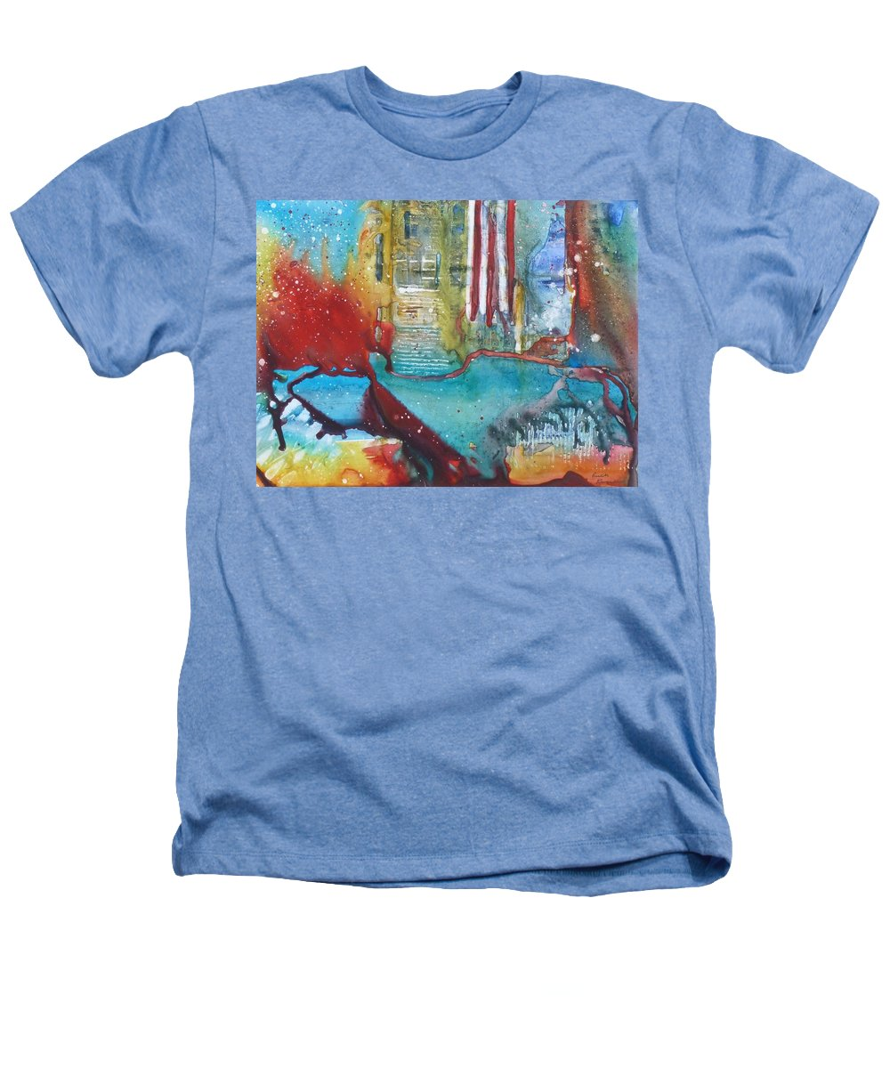 Abstract Heathers T-Shirt featuring the painting Atlantis Crashing Into The Sea by Ruth Kamenev