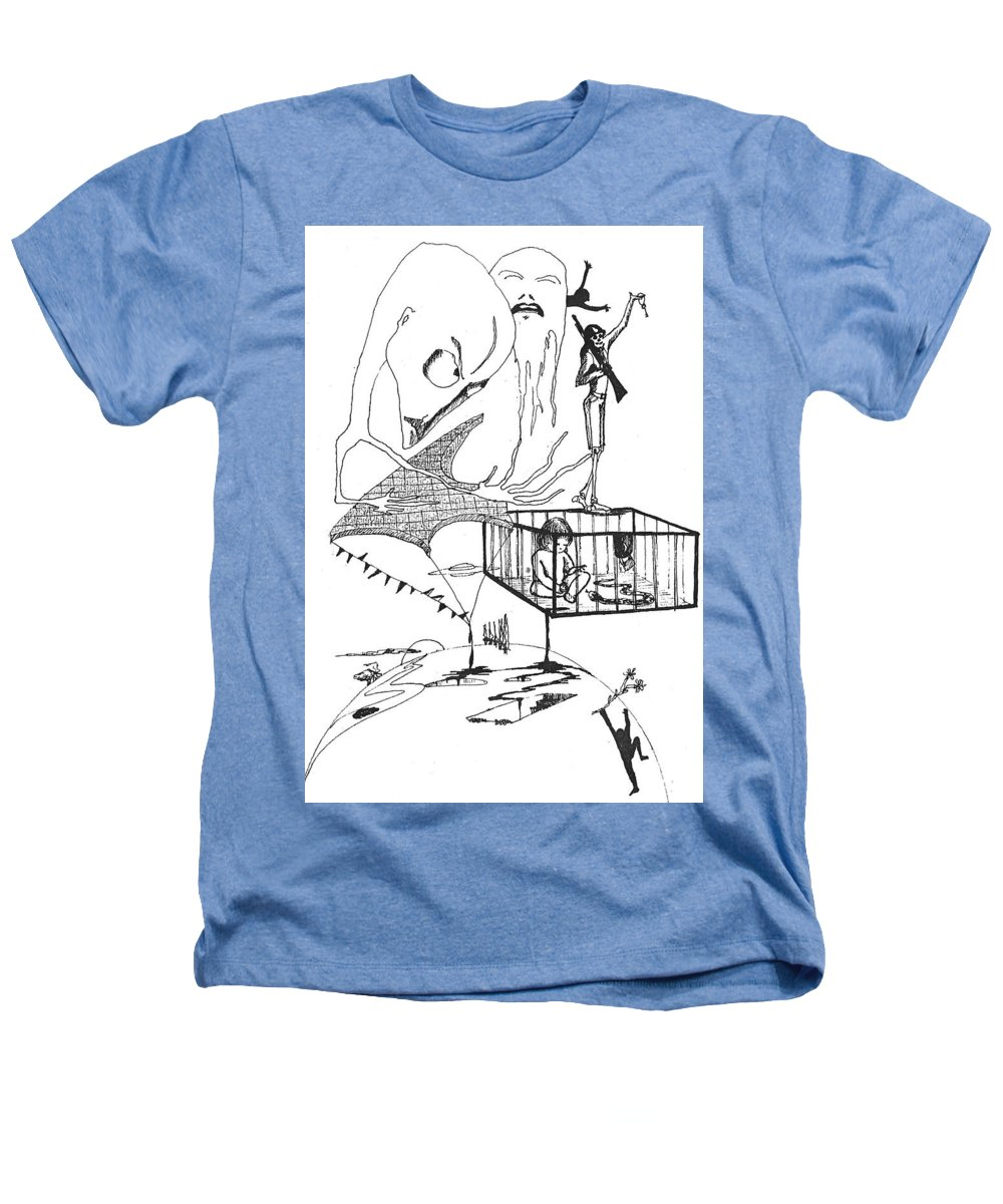 Drawing Pen Automatism Heathers T-Shirt featuring the drawing Automatism by Veronica Jackson