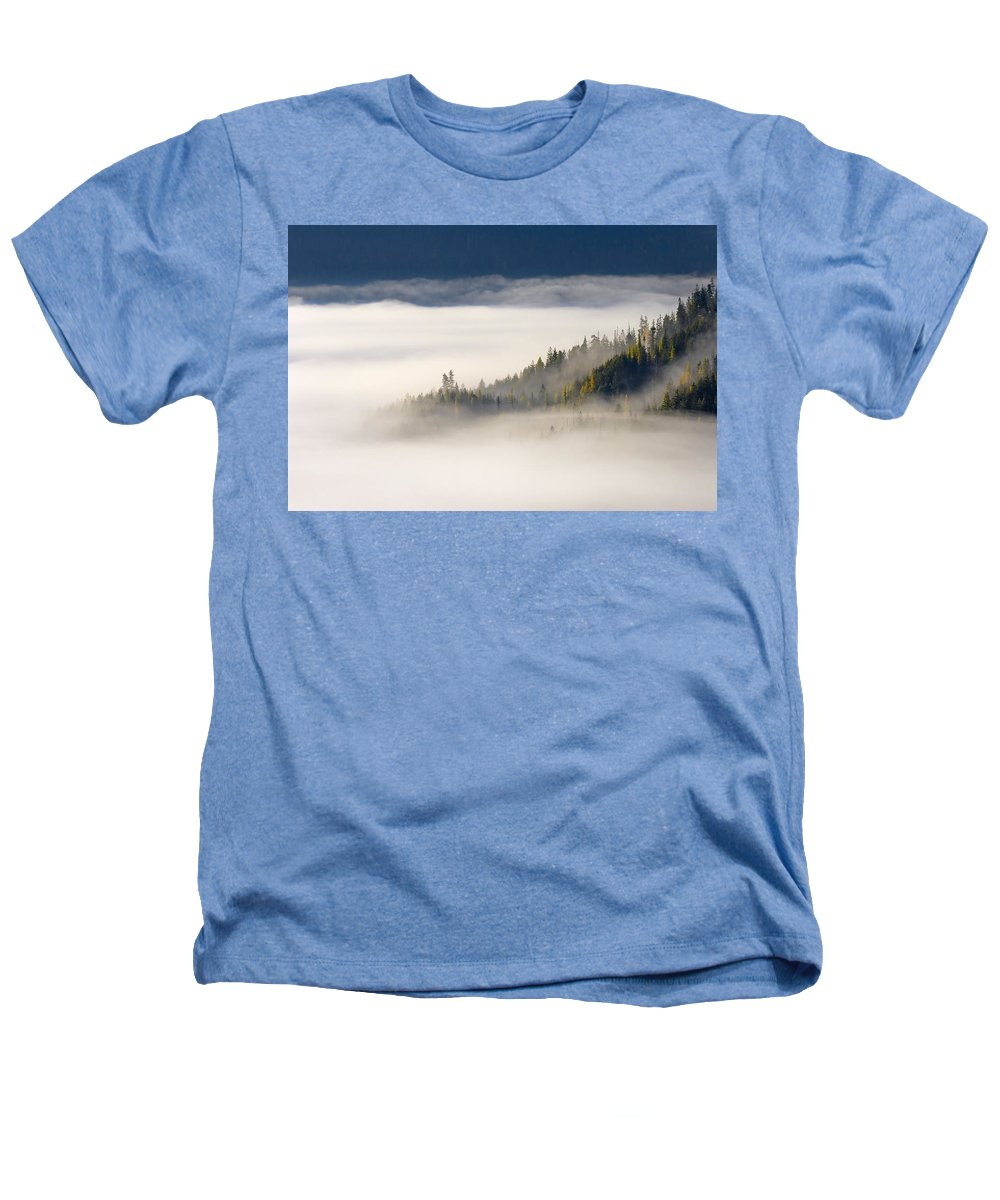 Fog Heathers T-Shirt featuring the photograph Autumn Morn by Mike Dawson
