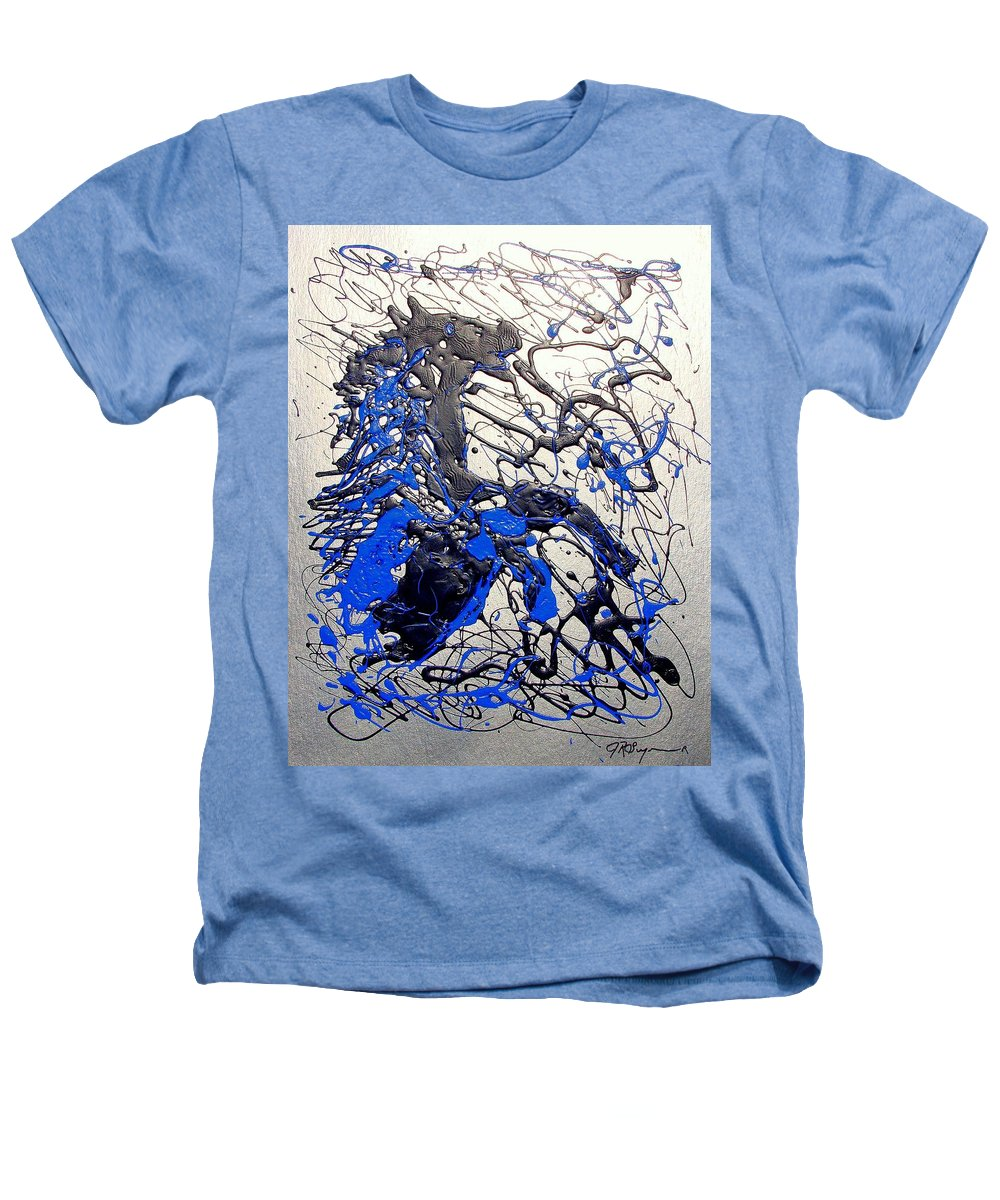 Stallion Horse Heathers T-Shirt featuring the painting Azul Diablo by J R Seymour