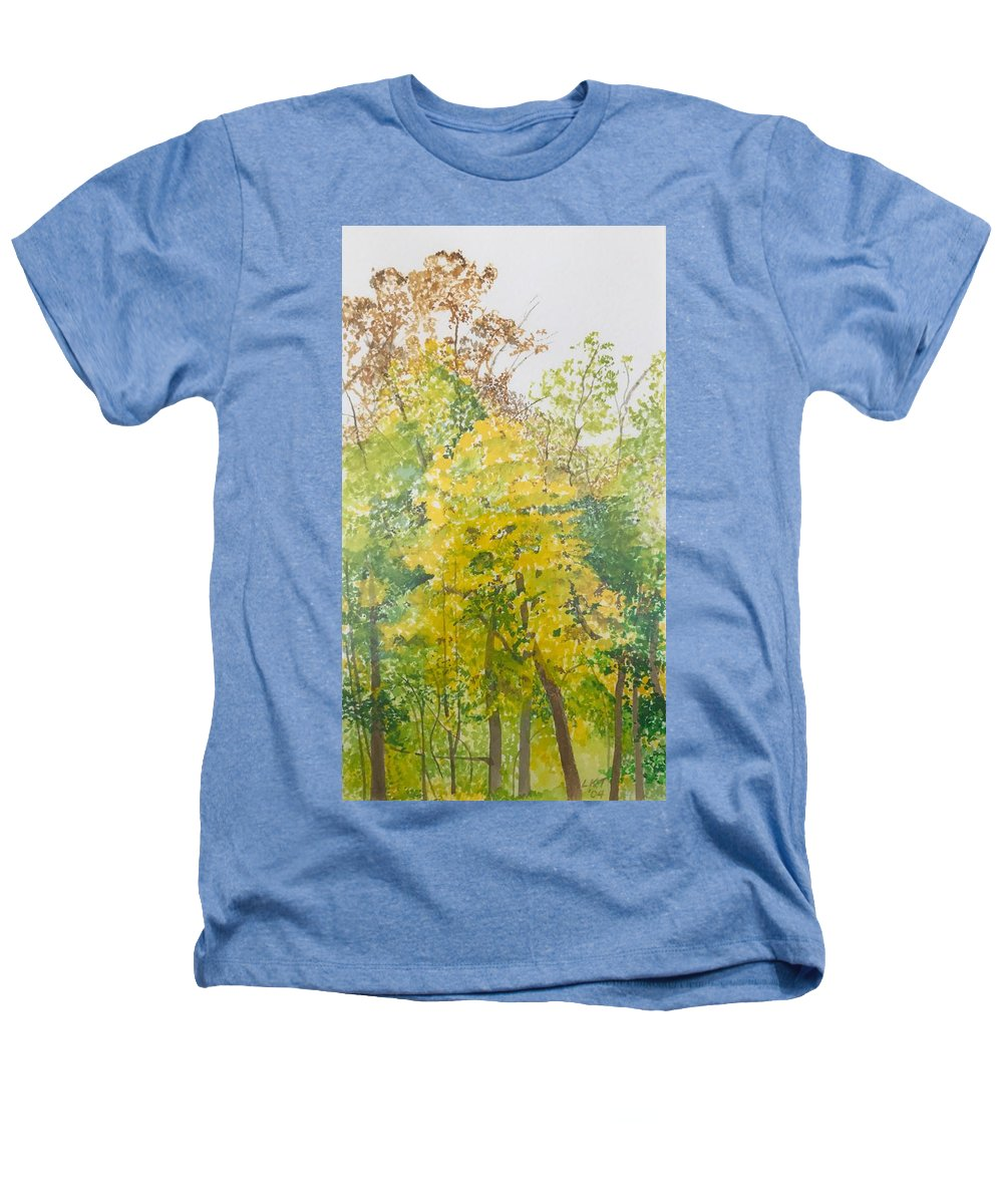 Autumn Heathers T-Shirt featuring the painting Backyard by Leah Tomaino
