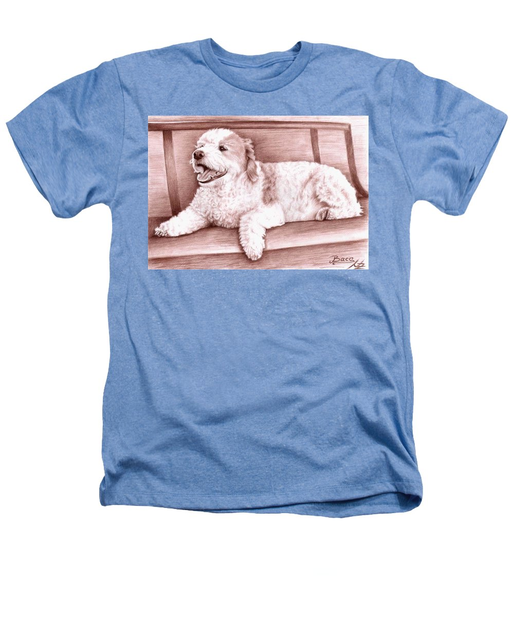 Dog Heathers T-Shirt featuring the drawing Baco by Nicole Zeug