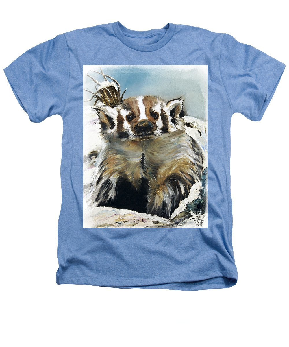 Southwest Art Heathers T-Shirt featuring the painting Badger - Guardian Of The South by J W Baker