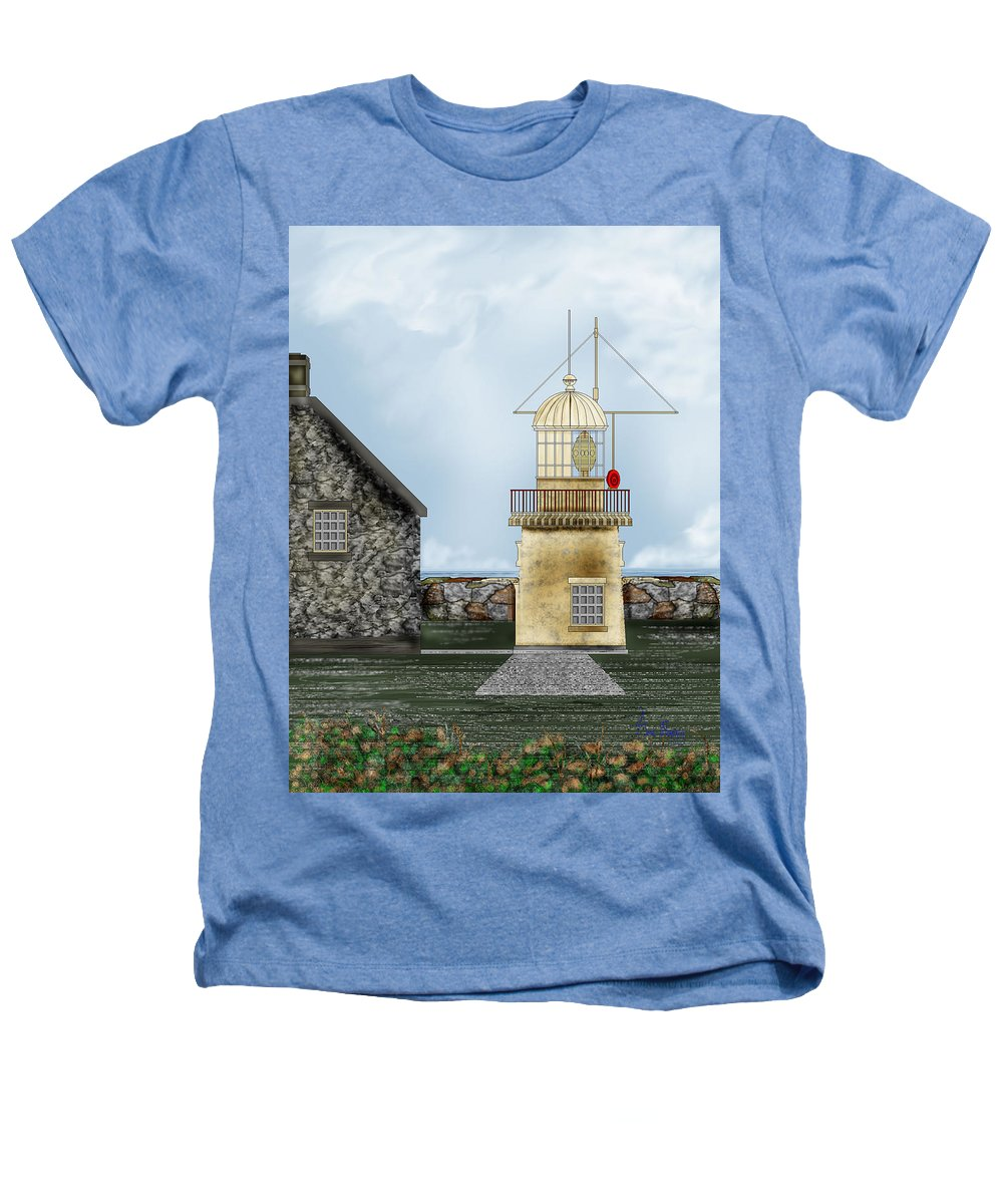 Lighthouse Heathers T-Shirt featuring the painting Ballinacourty Lighthouse At Waterford Ireland by Anne Norskog