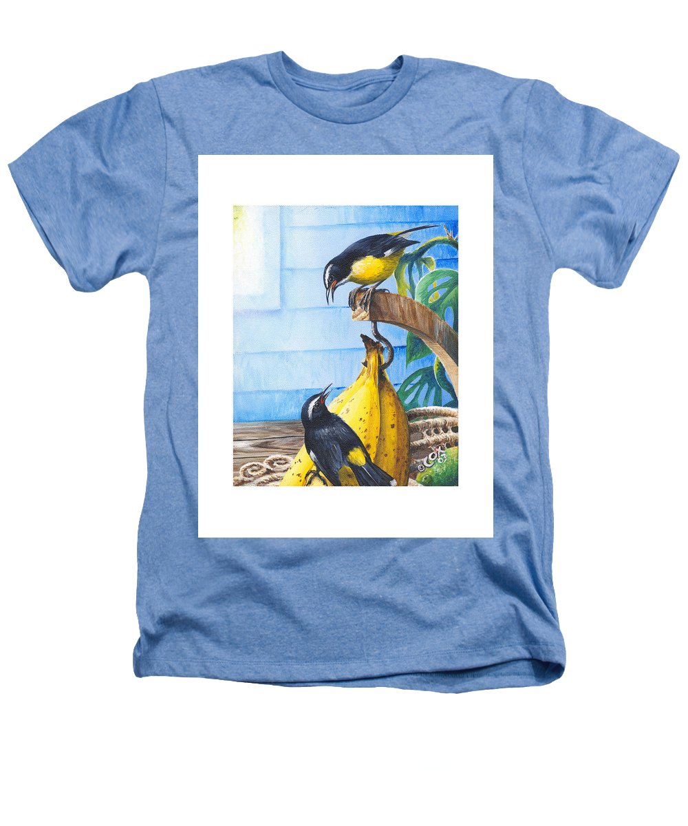 Chris Cox Heathers T-Shirt featuring the painting Bananaquits And Bananas by Christopher Cox