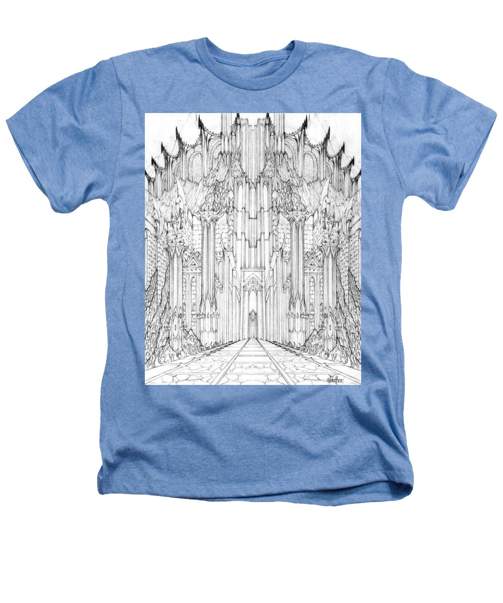 Barad-dur Heathers T-Shirt featuring the drawing Barad-dur Gate Study by Curtiss Shaffer