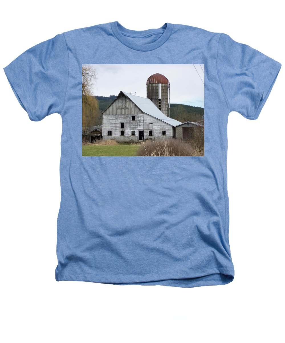 Digital Photography Heathers T-Shirt featuring the photograph Barn And Silo by Laurie Kidd