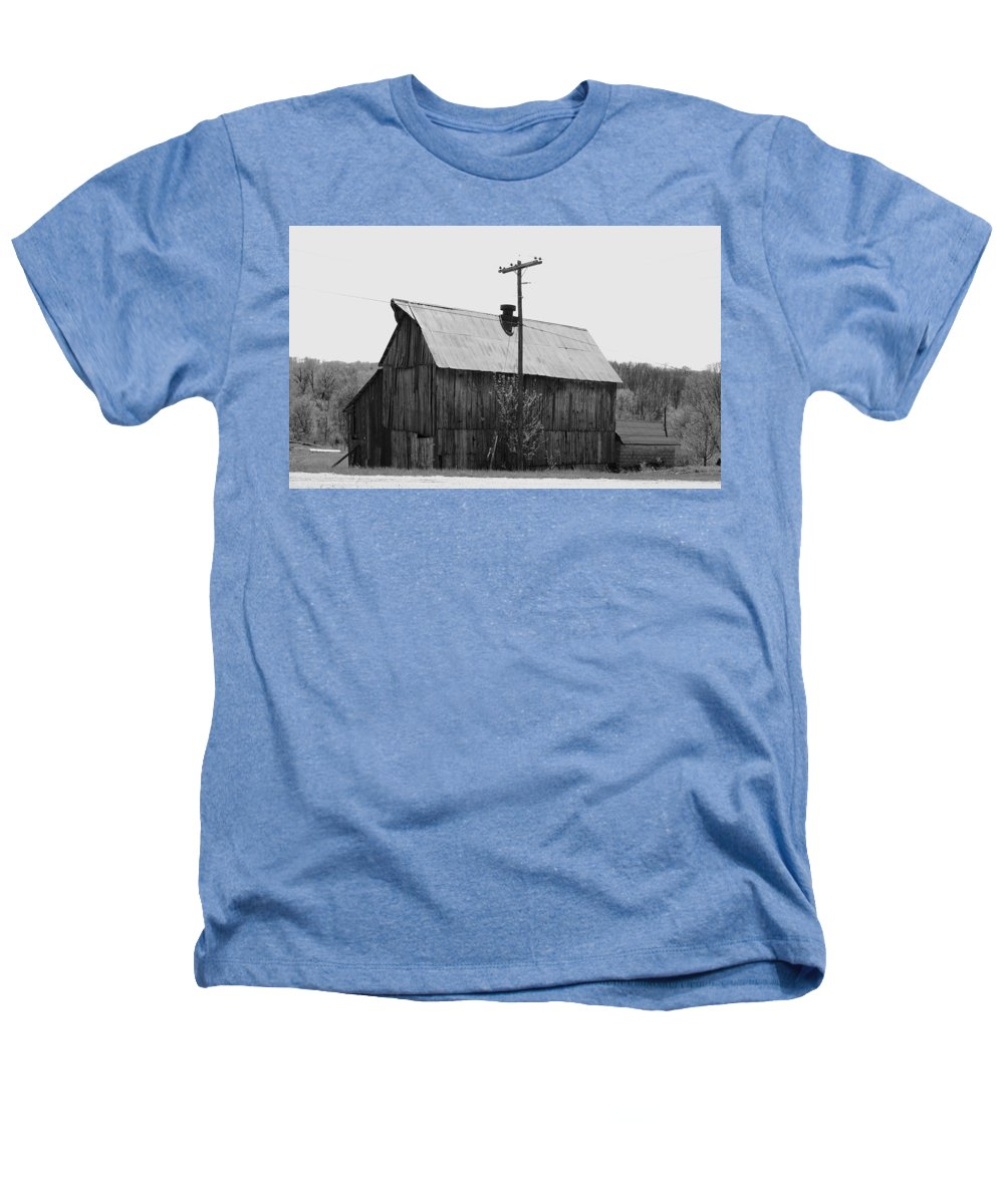 Barns Heathers T-Shirt featuring the photograph Barn On The Side Of The Road by Angus Hooper Iii
