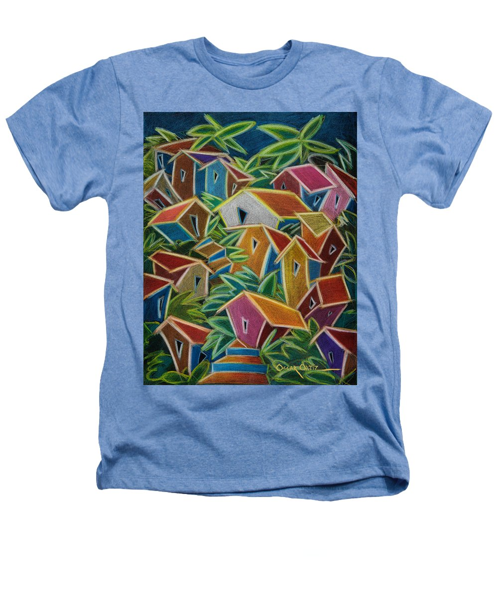 Landscape Heathers T-Shirt featuring the painting Barrio Lindo by Oscar Ortiz