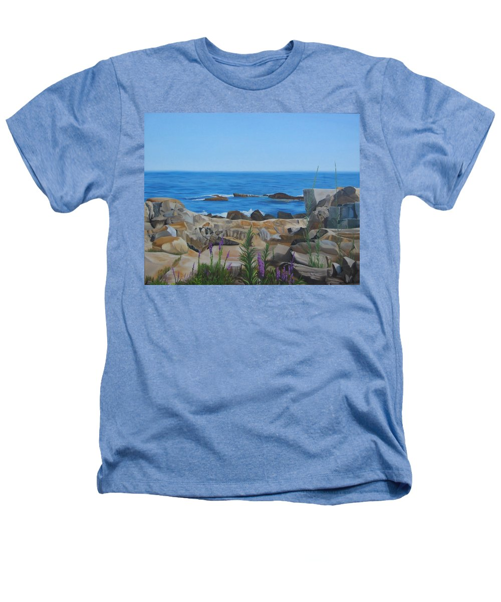 Seascape Heathers T-Shirt featuring the painting Bass Rocks Gloucester by Lea Novak