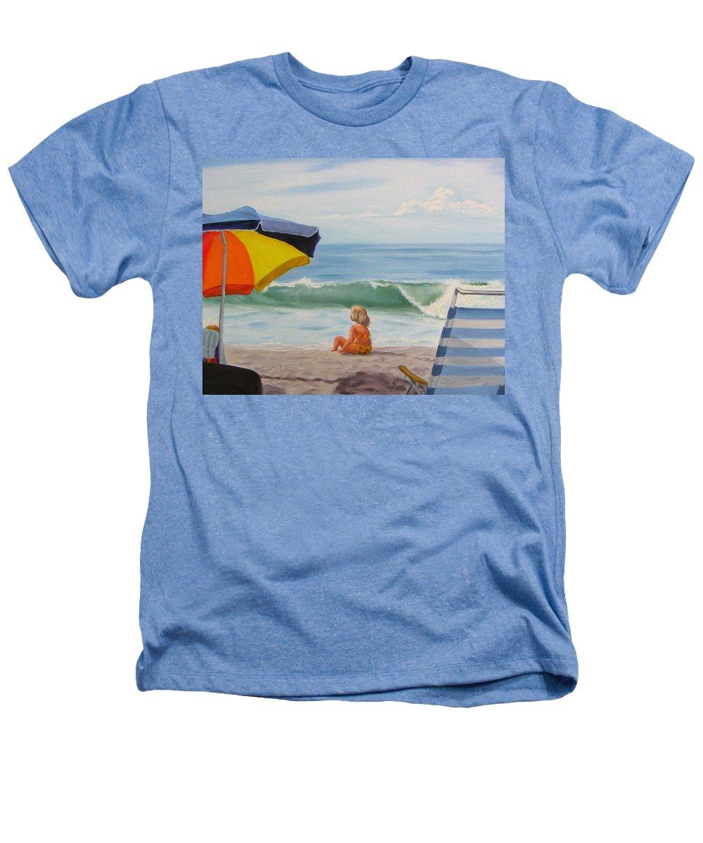 Seascape Heathers T-Shirt featuring the painting Beach Scene - Childhood by Lea Novak