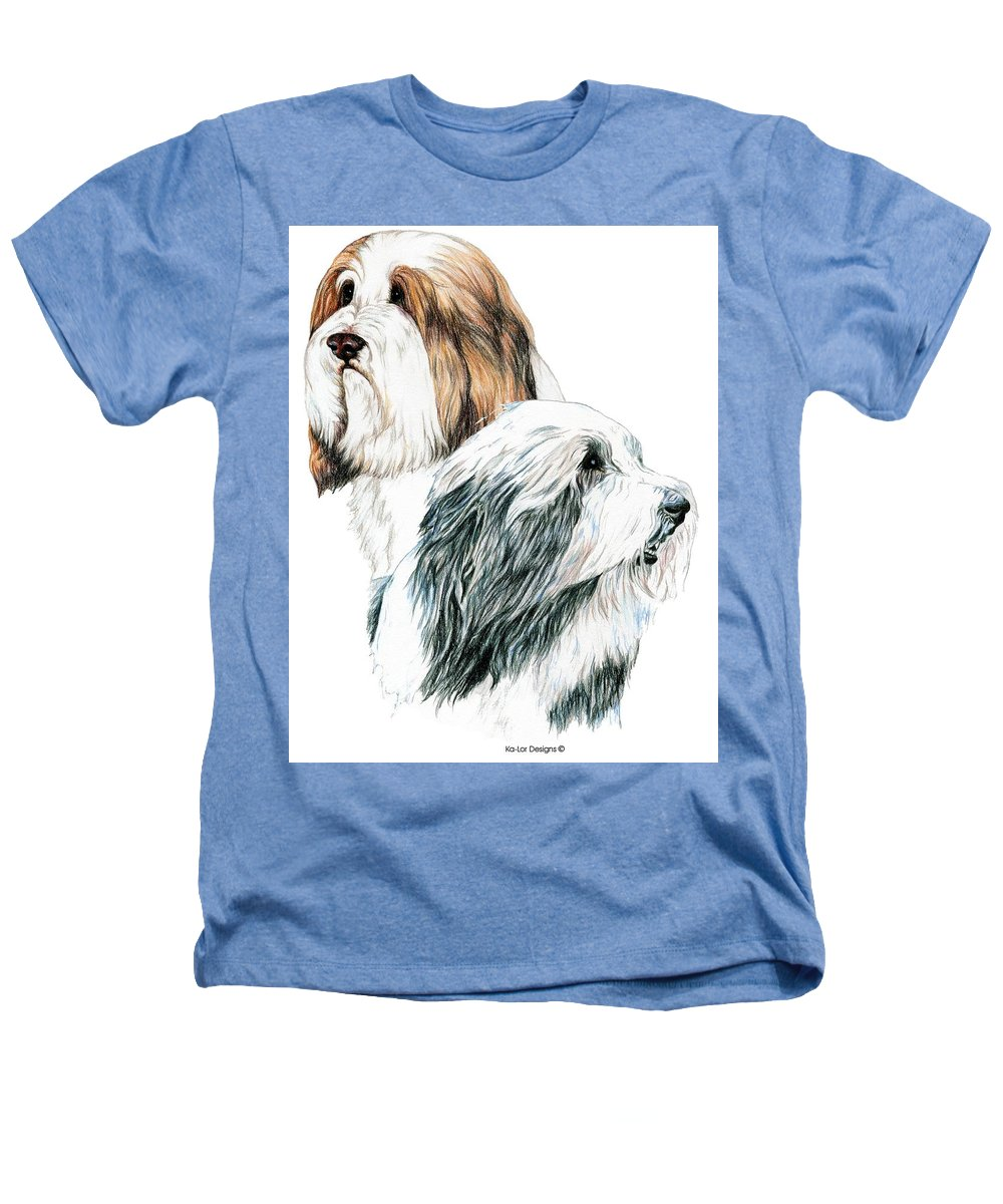 Bearded Collies Heathers T-Shirt featuring the drawing Bearded Collies by Kathleen Sepulveda