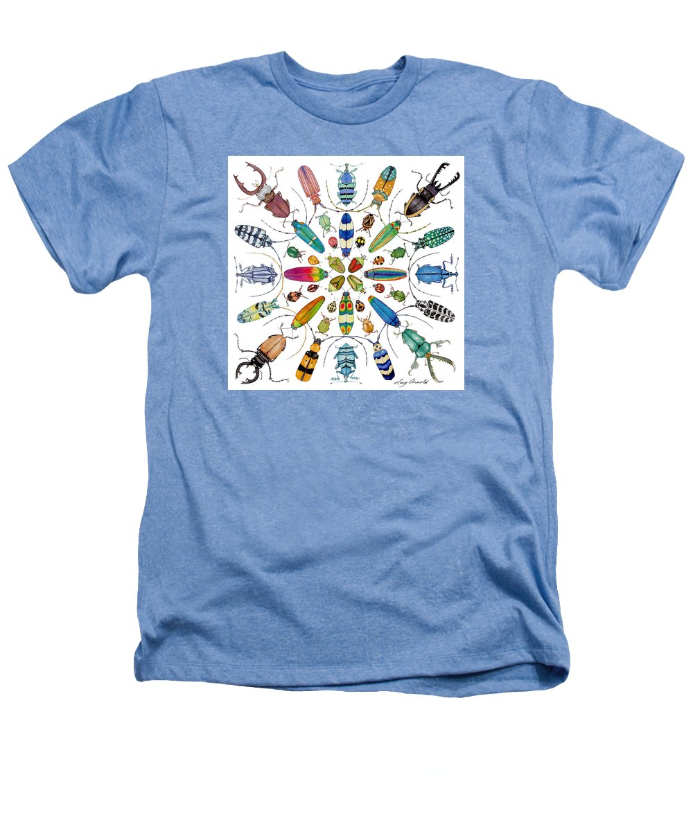 Insects Heathers T-Shirt featuring the painting Beautiful Beetles by Lucy Arnold