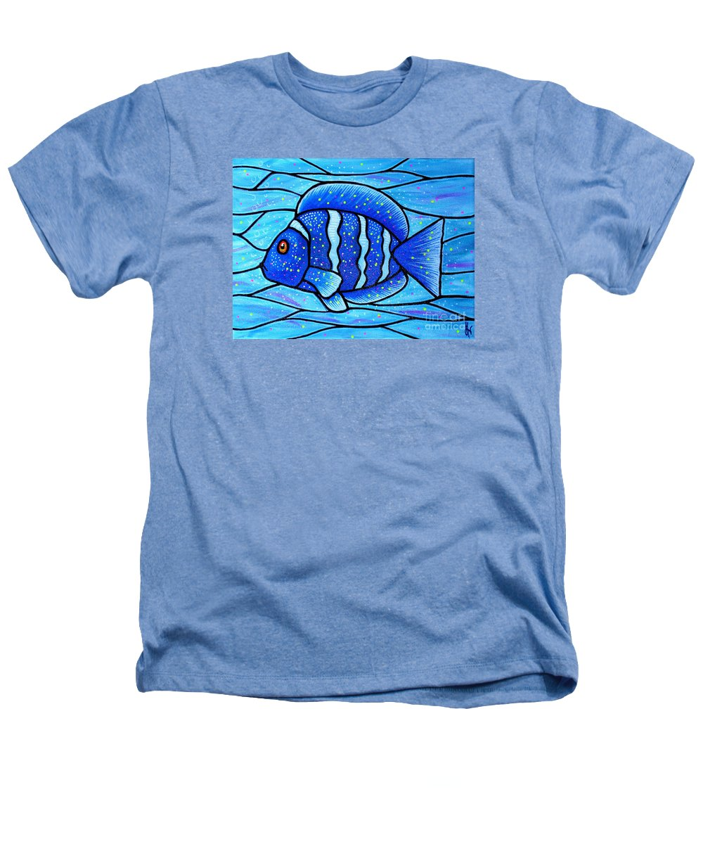 Tropical Fish Heathers T-Shirt featuring the painting Beckys Blue Tropical Fish by Jim Harris
