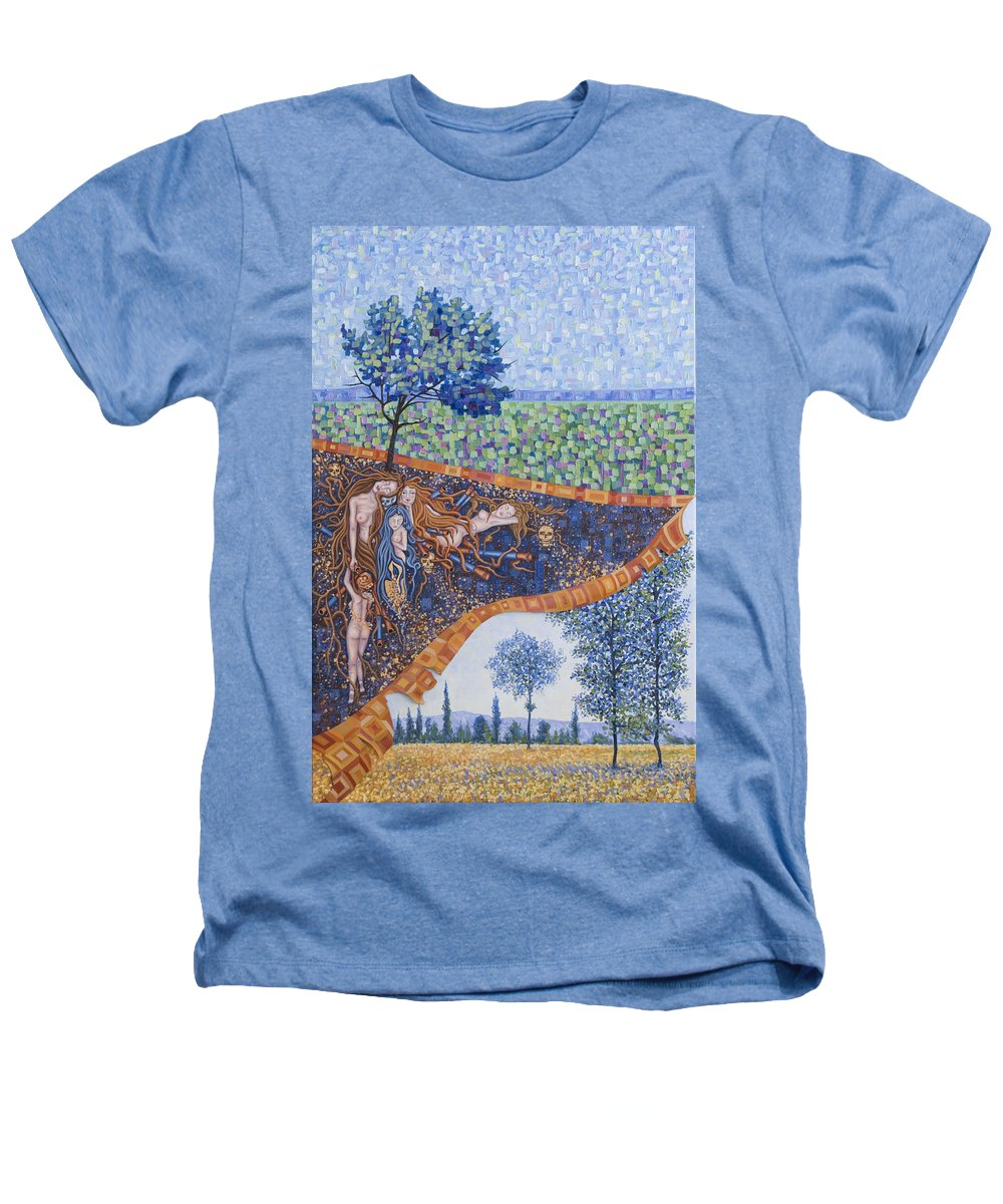 Canvas Heathers T-Shirt featuring the painting Behind The Canvas by Judy Henninger