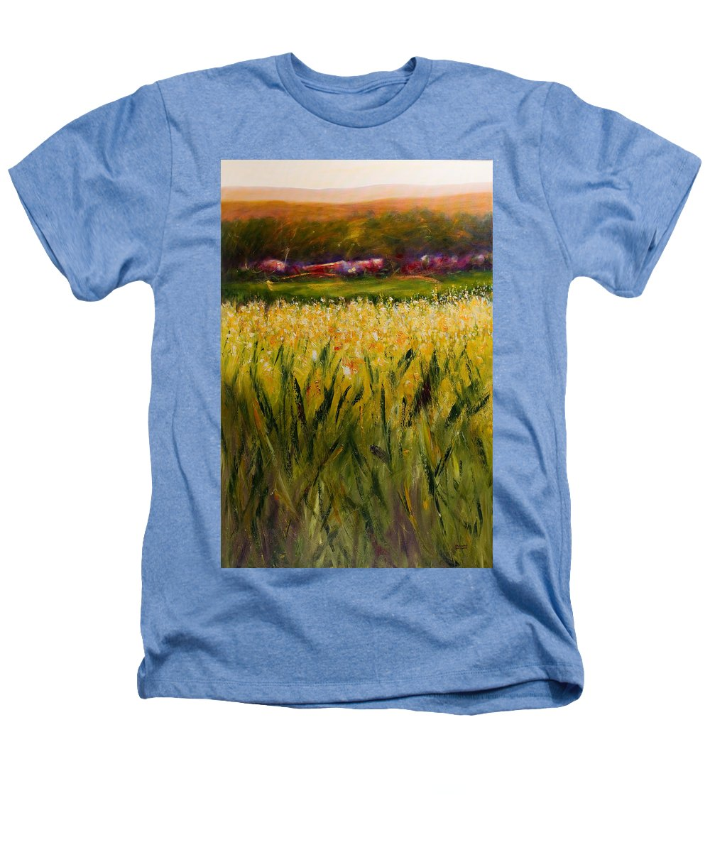 Landscape Heathers T-Shirt featuring the painting Beyond The Valley by Shannon Grissom