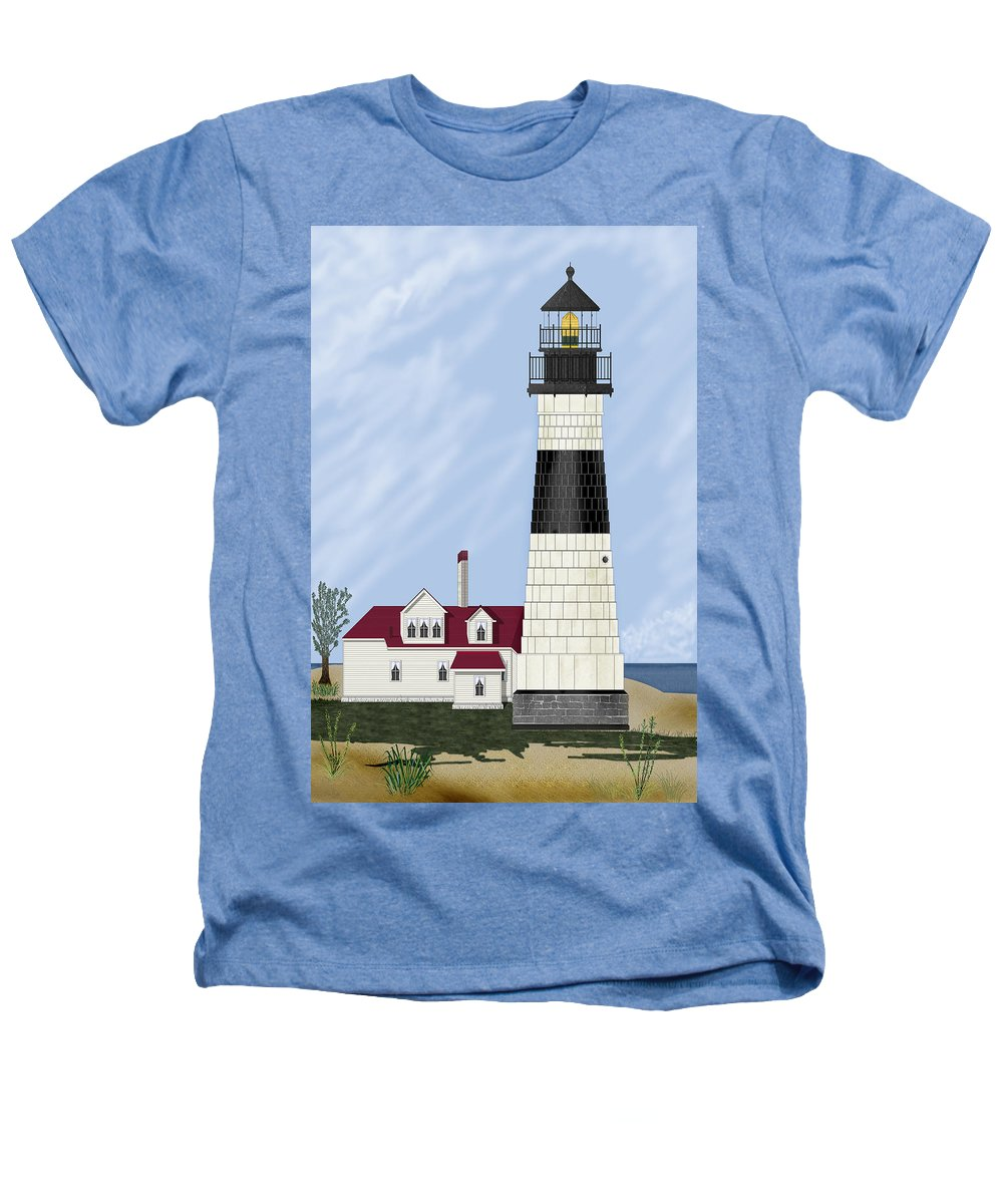 Big Sable Michigan Lighthouse Heathers T-Shirt featuring the painting Big Sable Michigan by Anne Norskog