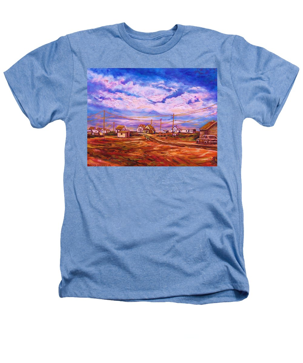 Cloudscapes Heathers T-Shirt featuring the painting Big Sky Red Earth by Carole Spandau
