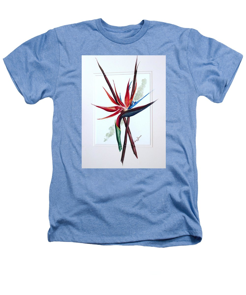Floral Tropical Caribbean Flower Heathers T-Shirt featuring the painting Bird Of Paradise Lily by Karin Dawn Kelshall- Best