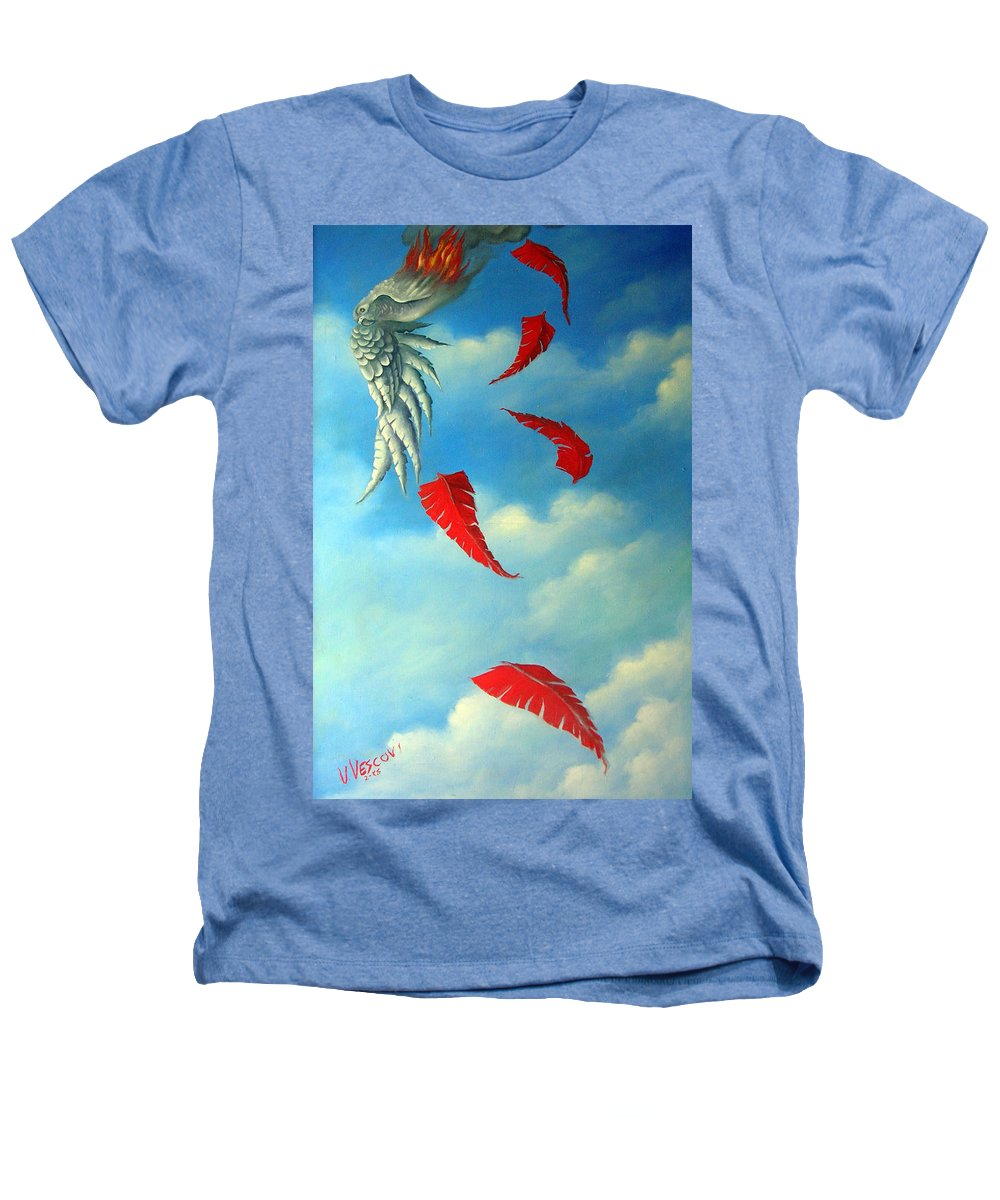 Surreal Heathers T-Shirt featuring the painting Bird On Fire by Valerie Vescovi