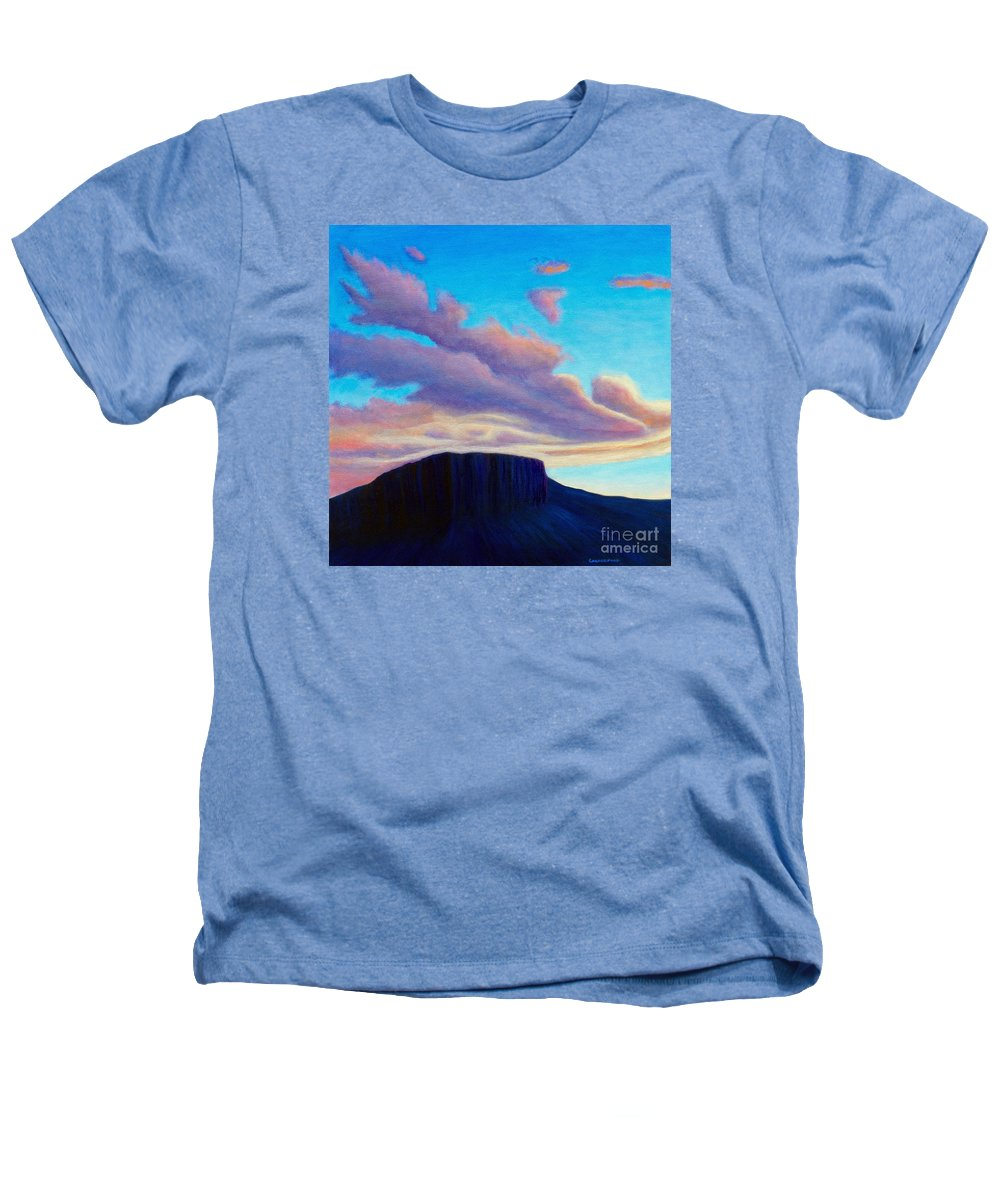 Landscape Heathers T-Shirt featuring the painting Black Mesa Sunset by Brian Commerford