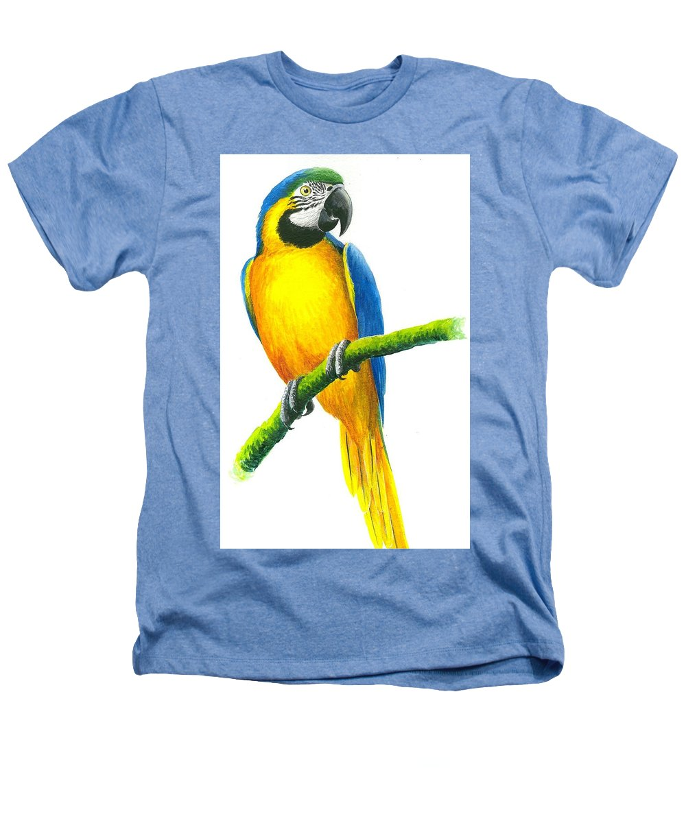 Chris Cox Heathers T-Shirt featuring the painting Blue And Gold Macaw by Christopher Cox
