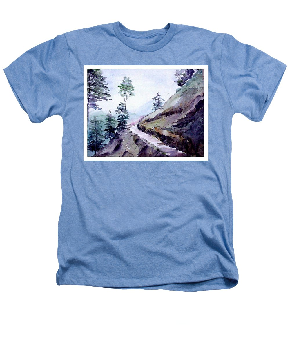 Landscape Heathers T-Shirt featuring the painting Blue Hills by Anil Nene