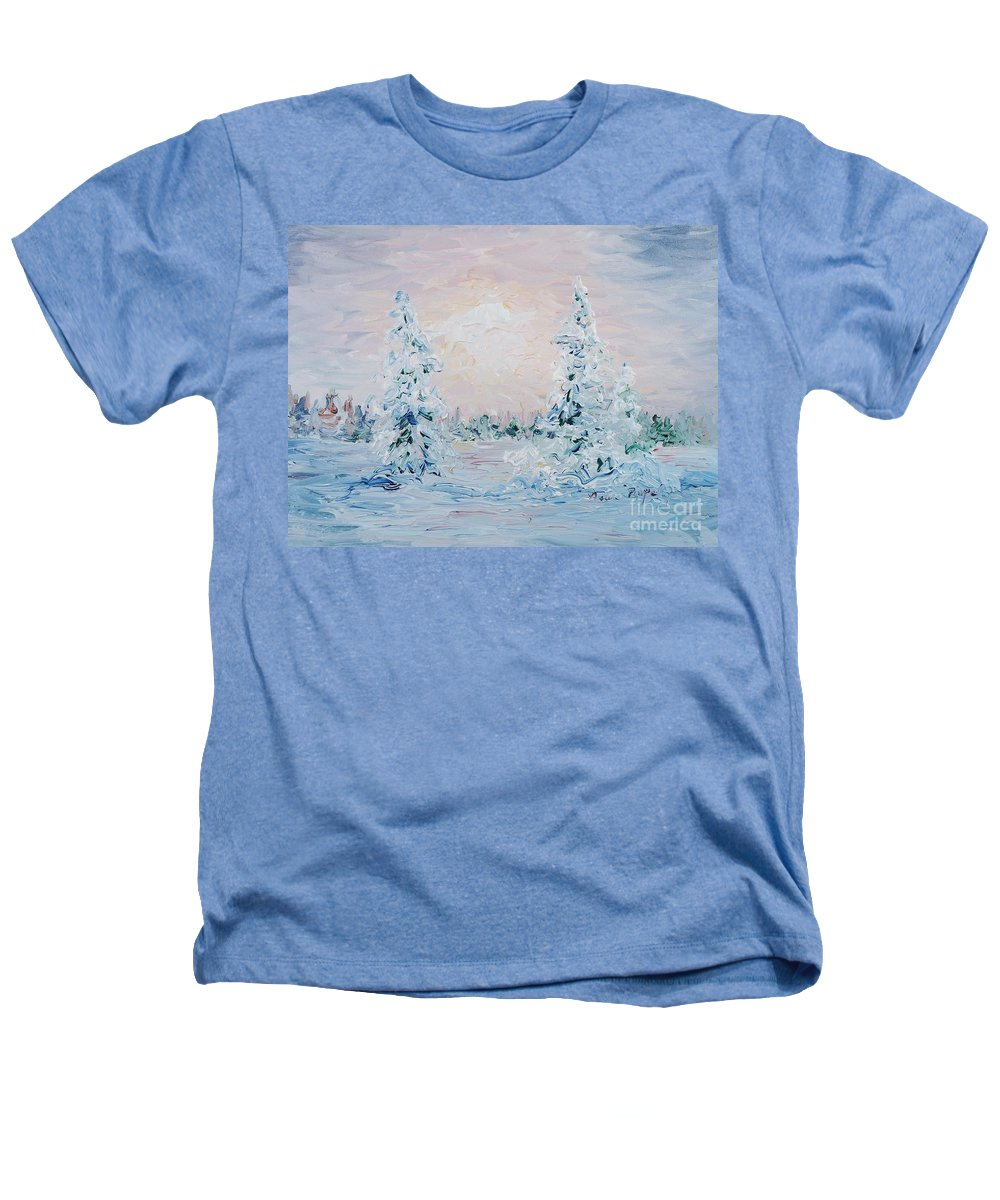 Landscape Heathers T-Shirt featuring the painting Blue Winter by Nadine Rippelmeyer