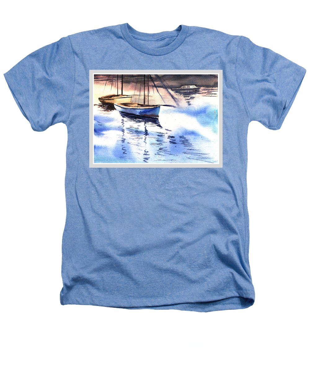 Watercolor Heathers T-Shirt featuring the painting Boat And The River by Anil Nene