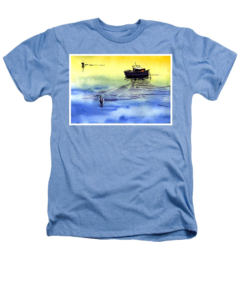 Watercolor Heathers T-Shirt featuring the painting Boat And The Seagull by Anil Nene