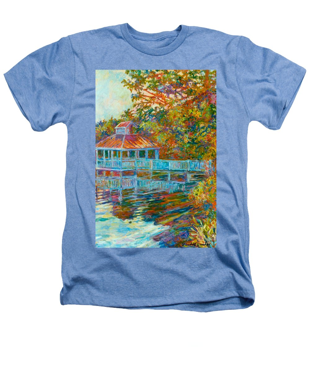 Mountain Lake Heathers T-Shirt featuring the painting Boathouse At Mountain Lake by Kendall Kessler