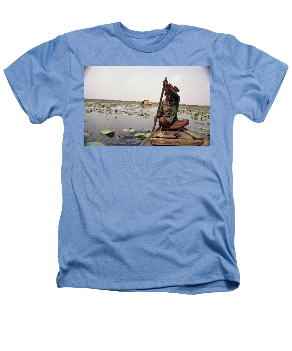 Cambodia Heathers T-Shirt featuring the photograph Boatman - Battambang by Patrick Klauss