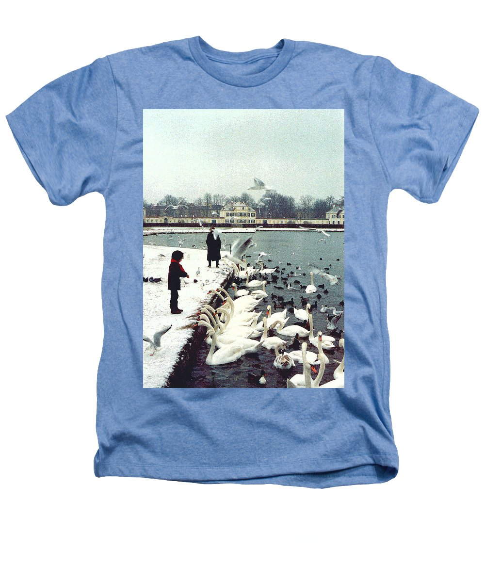 Swans Heathers T-Shirt featuring the photograph Boy Feeding Swans- Germany by Nancy Mueller