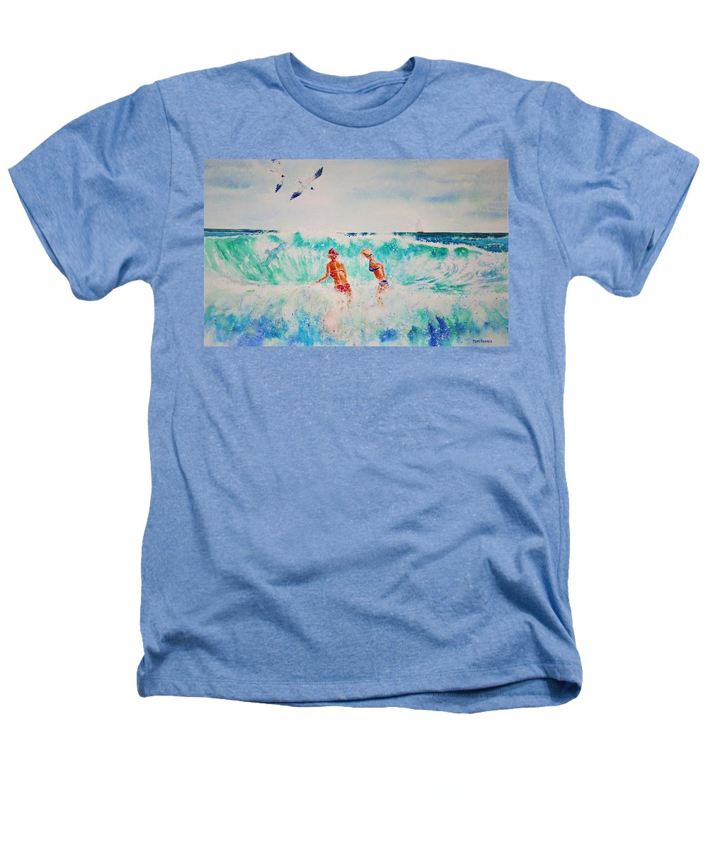 Surf Heathers T-Shirt featuring the painting Brooke And Carey In The Shore Break by Tom Harris
