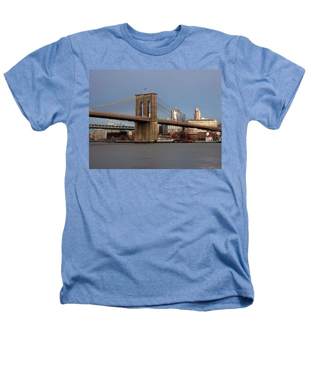Brooklyn Bridge Heathers T-Shirt featuring the photograph Brooklyn Bridge by Anita Burgermeister