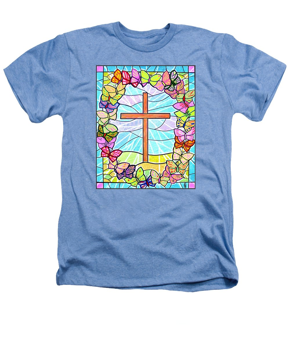 Easter Heathers T-Shirt featuring the painting Butterflies And Cross by Jim Harris