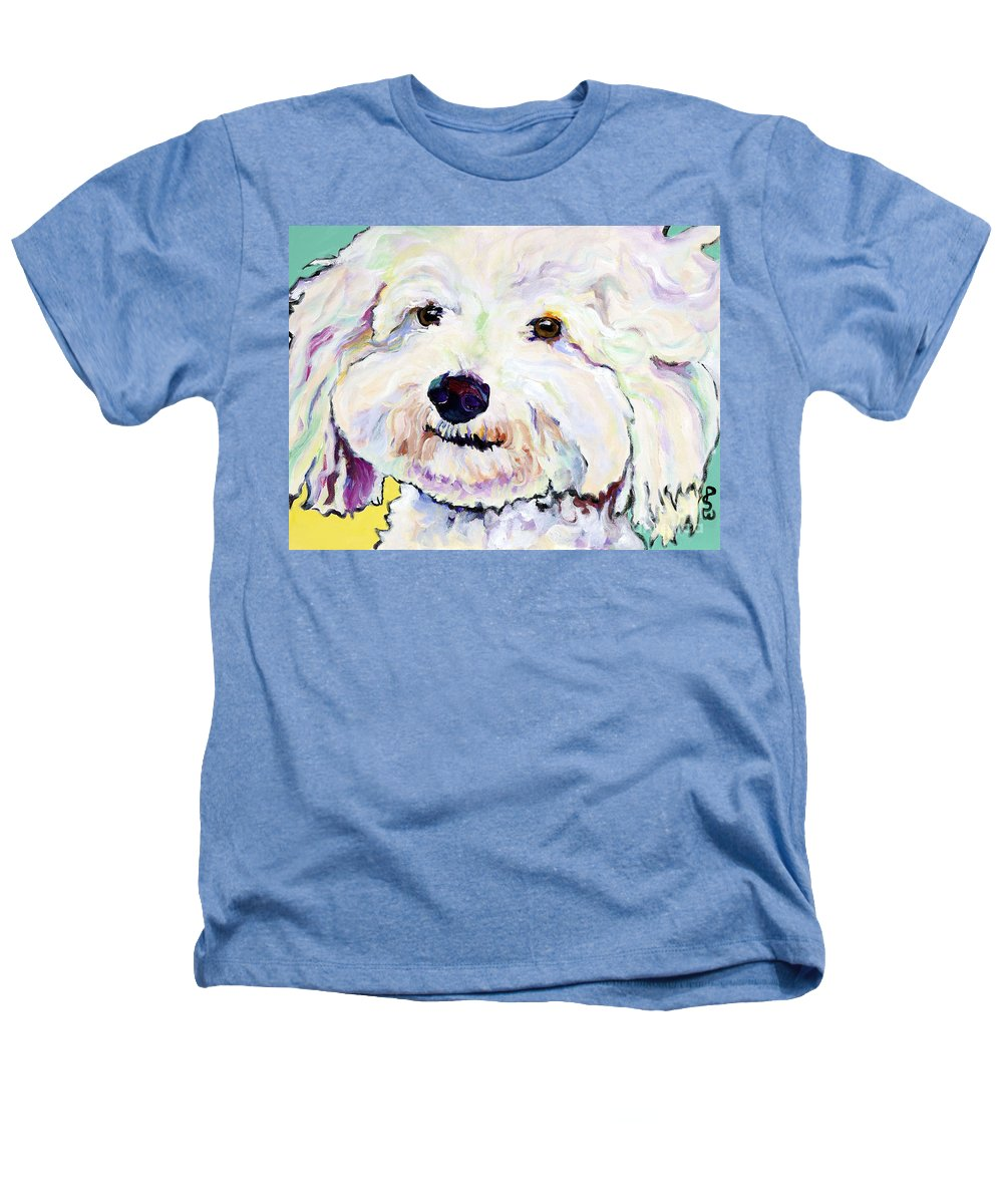Bischon Heathers T-Shirt featuring the painting Buttons  by Pat Saunders-White