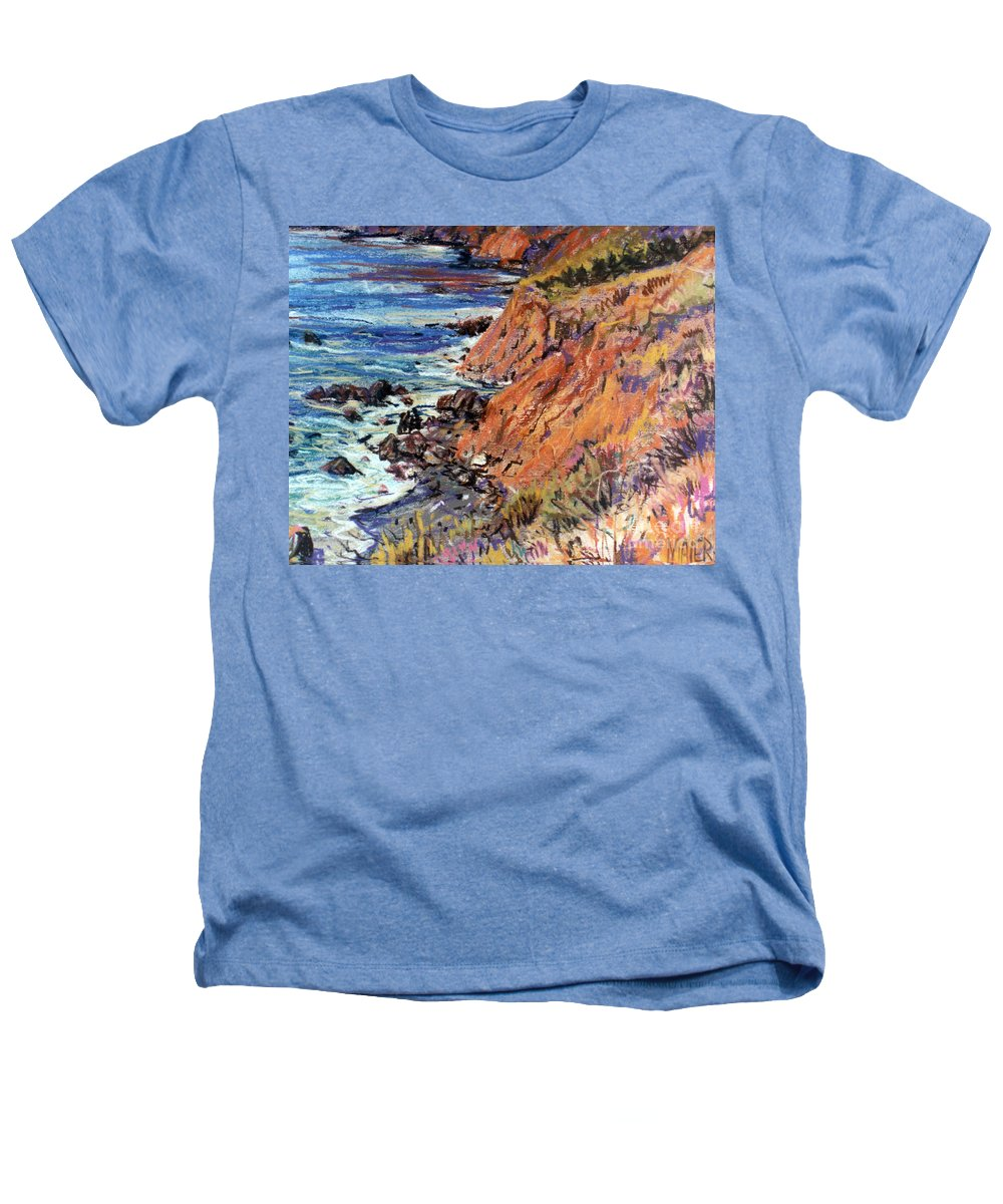 Big Sur Heathers T-Shirt featuring the drawing California Coast by Donald Maier