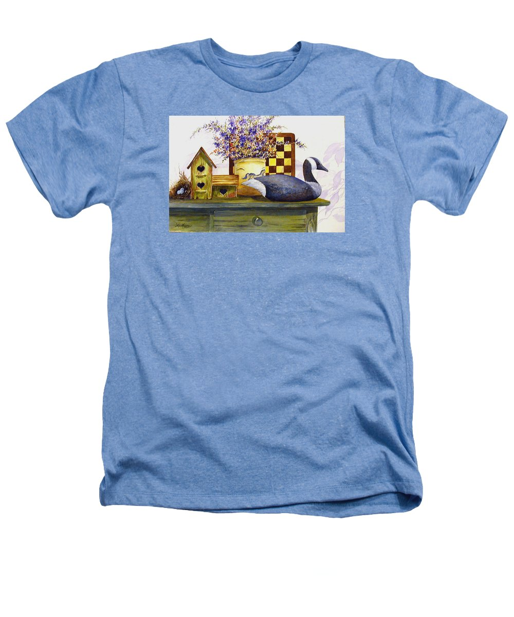 Canada Goose;birdhouse;bird Nest;crock;checkerboard;still Life;country Still Life; Heathers T-Shirt featuring the painting Canada And Checkerboard by Lois Mountz