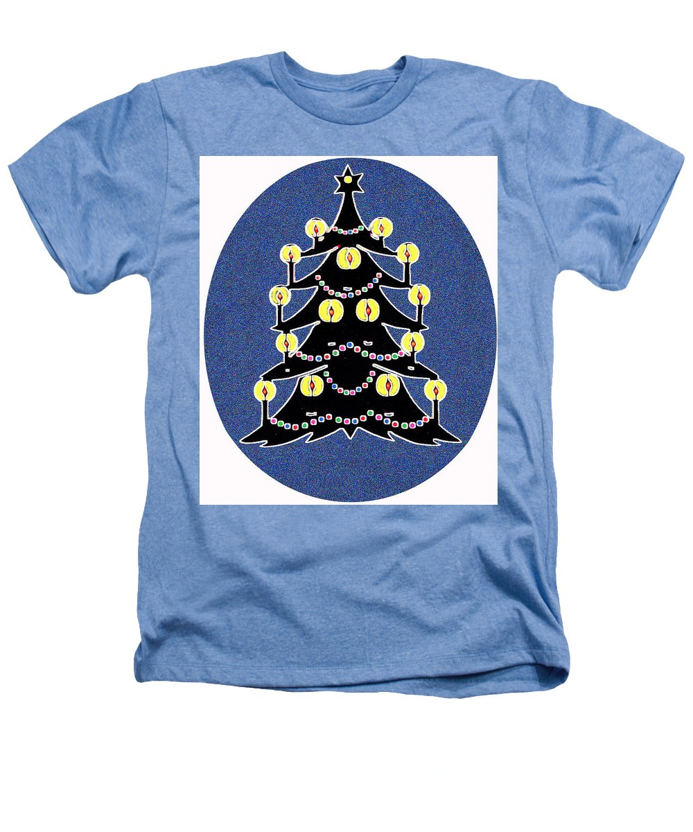 Christmas Heathers T-Shirt featuring the digital art Candlelit Christmas Tree by Nancy Mueller