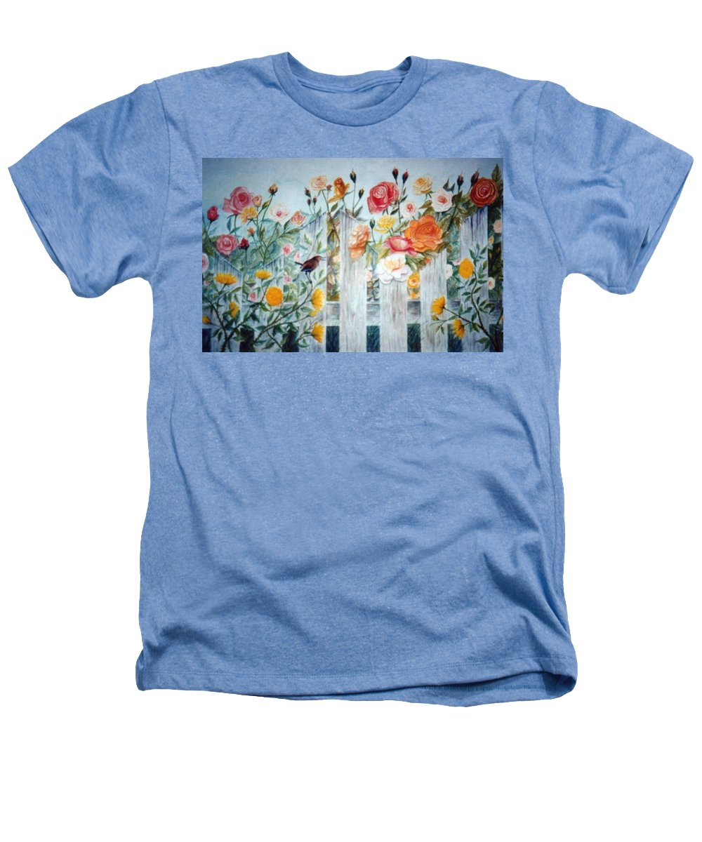 Roses; Flowers; Sc Wren Heathers T-Shirt featuring the painting Carolina Wren And Roses by Ben Kiger