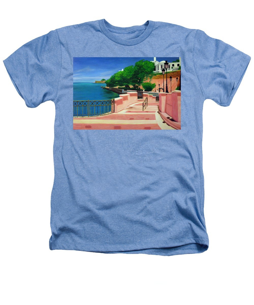 Landscape Heathers T-Shirt featuring the painting Casa Blanca - Puerto Rico by Tito Santiago