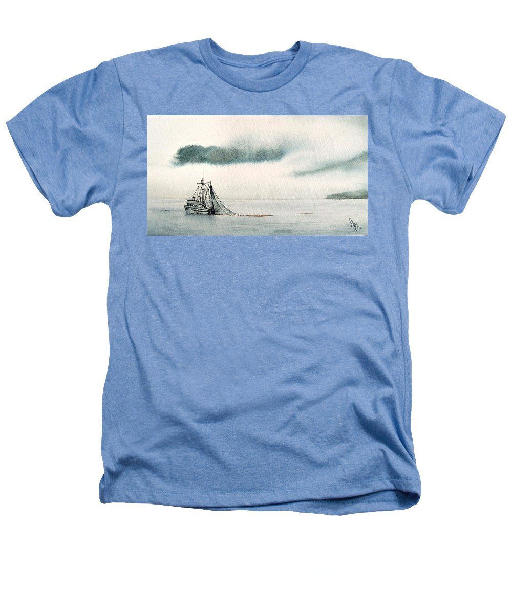 Fishing Boat Heathers T-Shirt featuring the painting Catch Of The Day by Gale Cochran-Smith