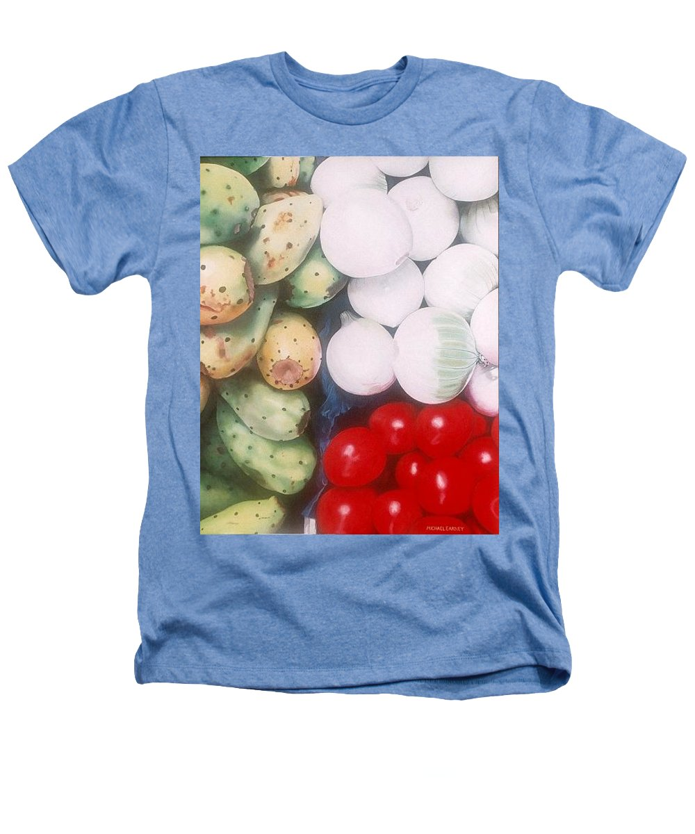 Hyperrealism Heathers T-Shirt featuring the painting Cebollas Tunas Y Tomates by Michael Earney