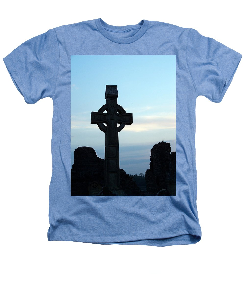 Irish Heathers T-Shirt featuring the photograph Celtic Cross At Sunset Donegal Ireland by Teresa Mucha