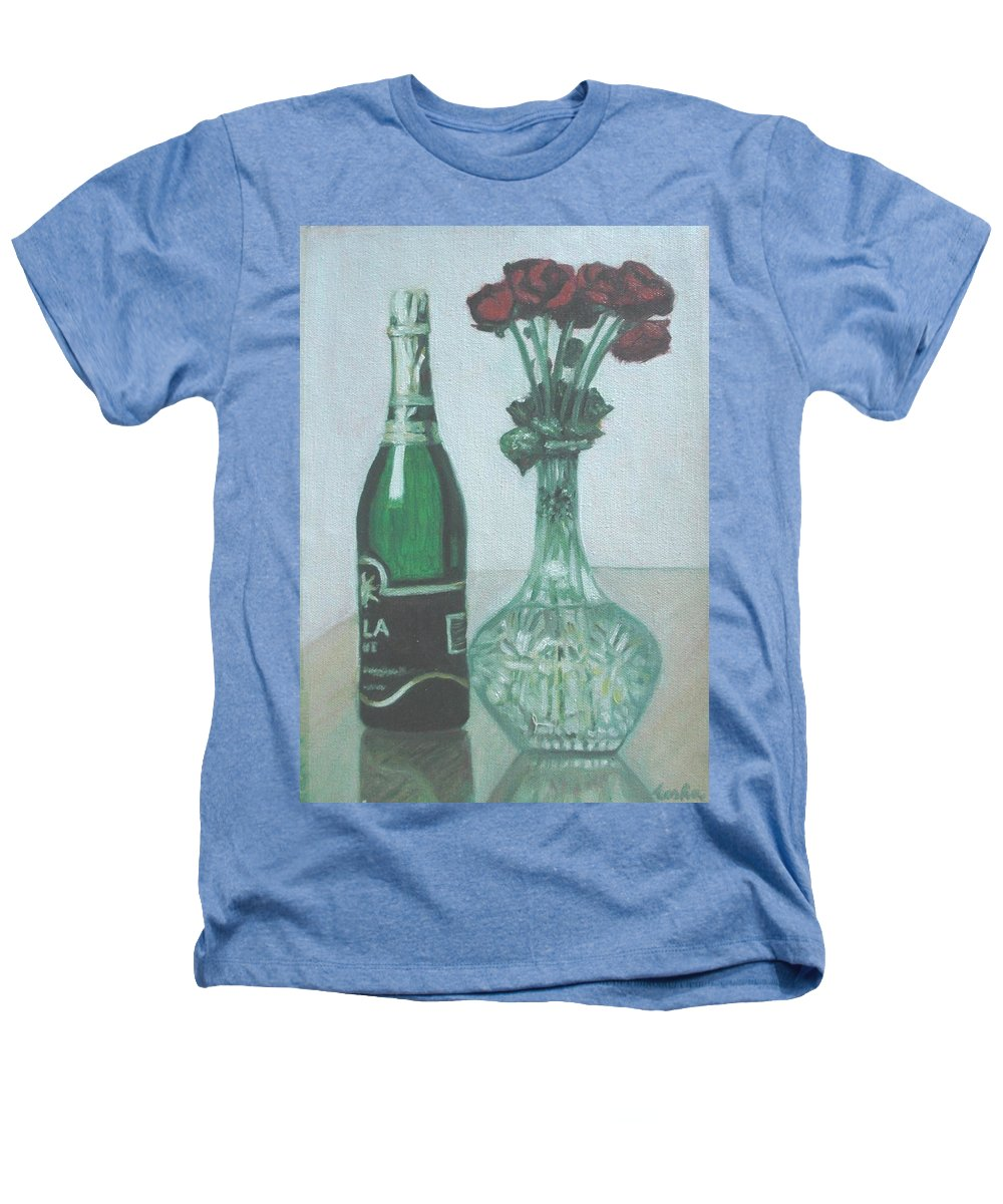 Champagne Heathers T-Shirt featuring the painting Champagne And Roses by Usha Shantharam