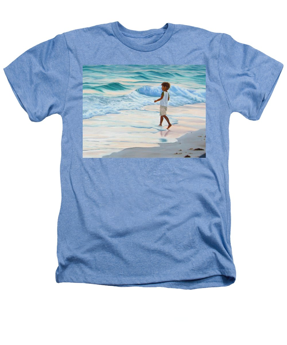 Child Heathers T-Shirt featuring the painting Chasing The Waves by Lea Novak